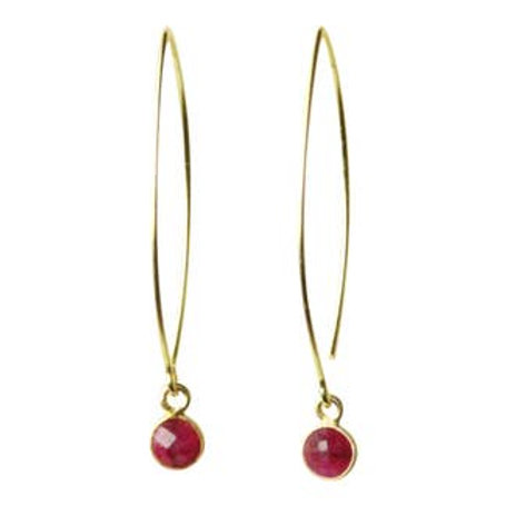 Sunday Girl Amy - Gemstone Dangle Earrings in Ruby