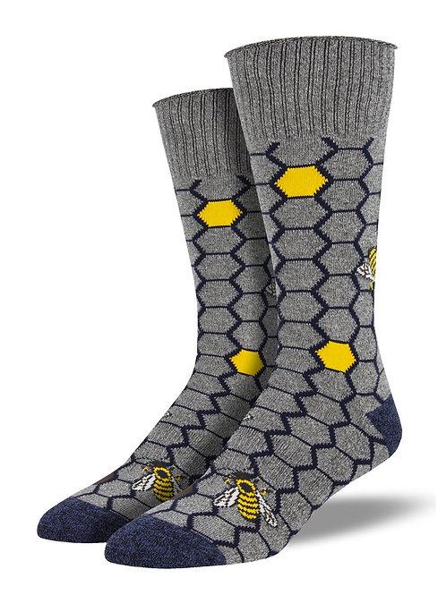 Socksmith - Recycled Cotton Gray Honey Bee Socks