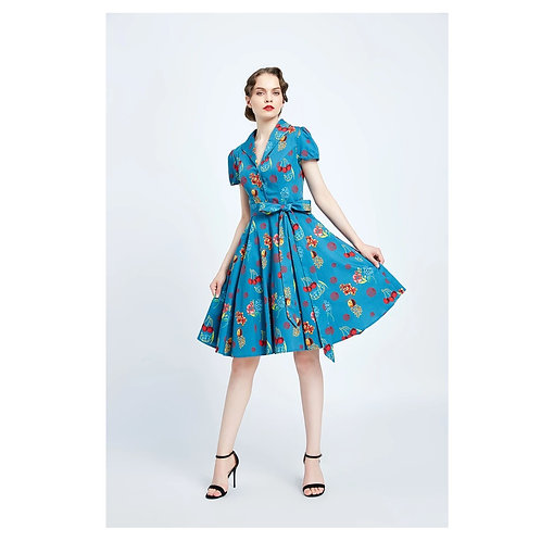 Miss Lulo - Cherry Floral Monroe Dress With Pockets