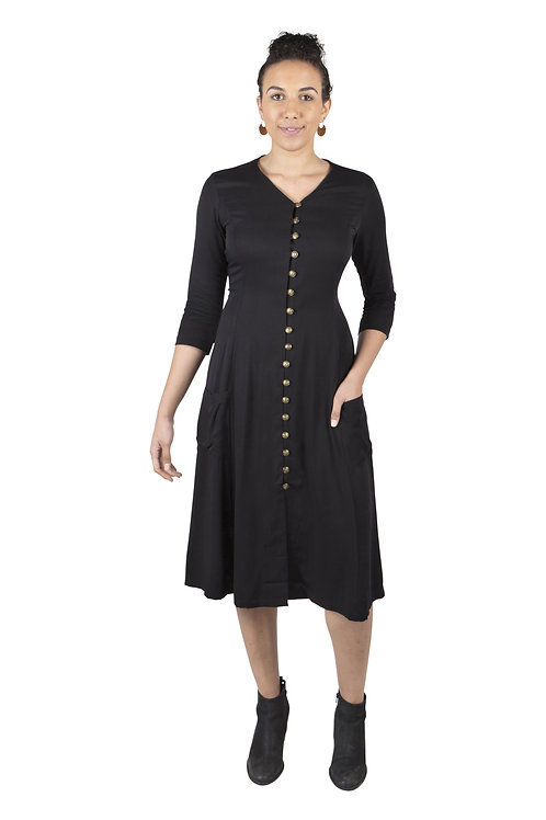 Field Day - Fiona Dress in Black Challis With Pockets