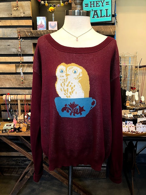 Teeberry & Weave - Owl Teacup Sweater Size XL