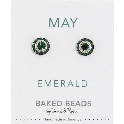 Baked Beads - May Emerald Birthstone Earrings