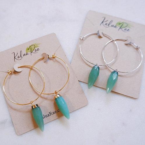 Kalua Rae - Aventurine Spike Crystal Wire Hoop Earrings