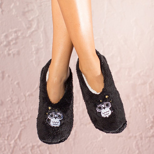 Faceplant Dreams - Black Night Owl Slippers in Size XL