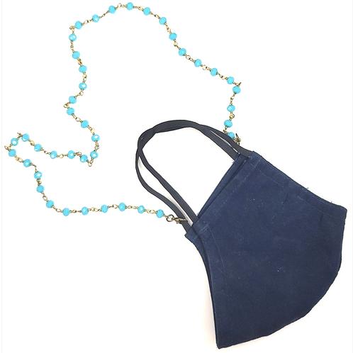 Rachel Eva - Blue Bead Mask Chain Necklace