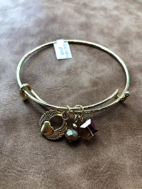 Rachel Eva - Heart Wings Gold Bangle Charm Bracelet