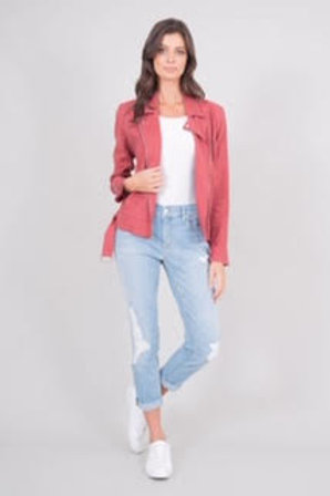 Level 99 - Rose Rosie Linen Moto Jacket