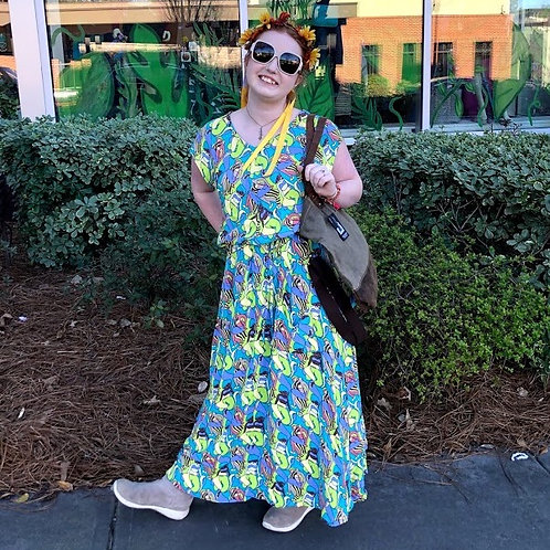 Field Day - Belted Bias Watercolor Maxi Dress in XL One of A Kind