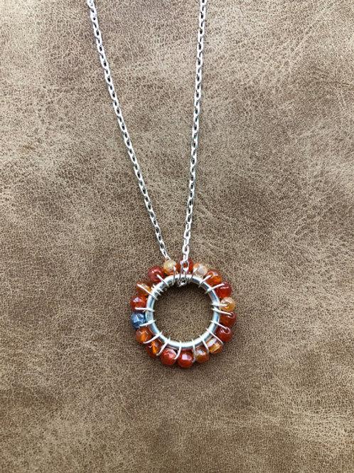 Jillery Designs - Carnelian Bead Sun Wire Wrapped Necklace