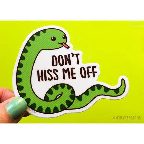 Tiny Bee - Don't Hiss Me Off Snake Vinyl Sticker