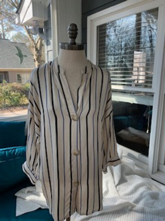 Dance In Paris - Tensile Black and Blue Striped Button Down Blouse