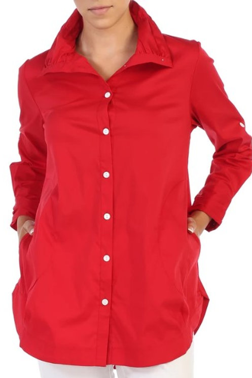 Inae Collection - Cherry Red Button Blouse With Pockets