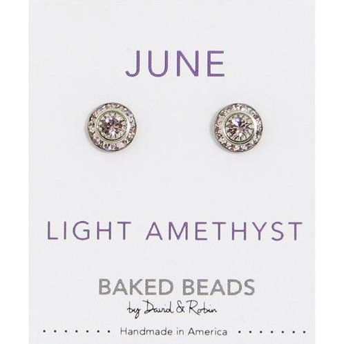 Baked Beads - June/Light Amethyst Birthstone Earrings