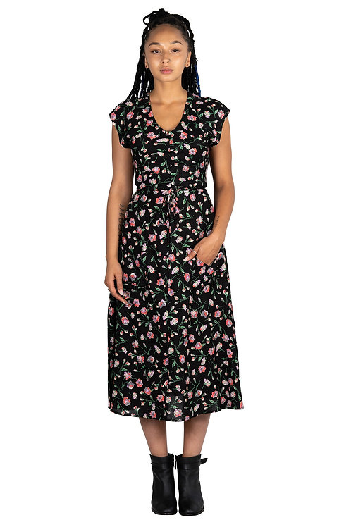 Field Day -Belted Bias Abstract Floral Print Maxi Dress With Pockets