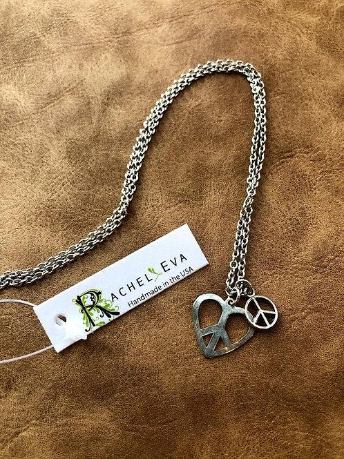 Rachel Eva - Dainty Silver Peace Heart Necklace