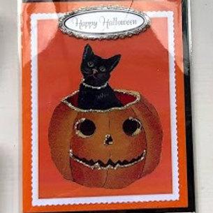 Nelda Barcher - Happy Halloween Cat in Pumpkin Card