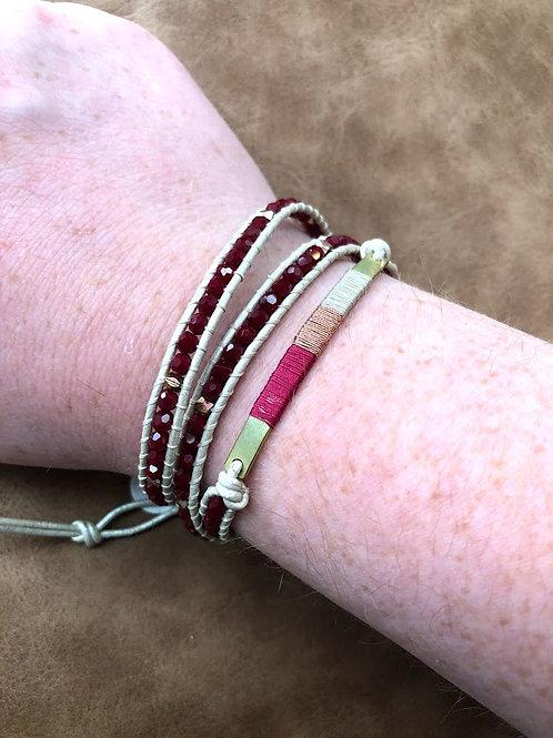 Naka Mol- Red Bead Wrap Bracelet with Wrapped Bar
