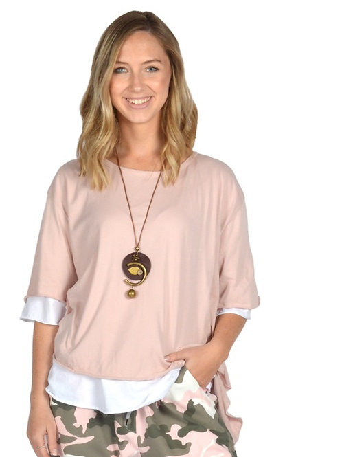 Catherine Lillywhite - Pink Layered Shirt with Necklace