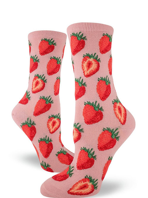 Mod Socks - Sweet Strawberries Petal Pink Women's Crew Socks