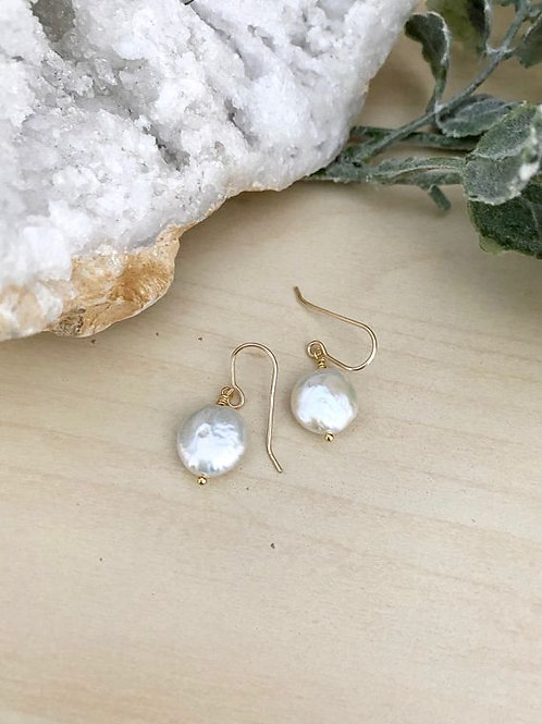 Girl With The Pearl - White Coin Pearl Earrings