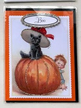 Nelda Barcher - Boo Cat in Pumpkin Halloween Card