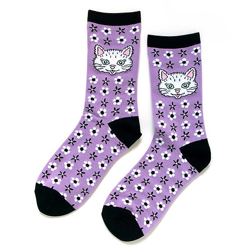 Smarty Pants - Purple Cat Socks Ladies Crew