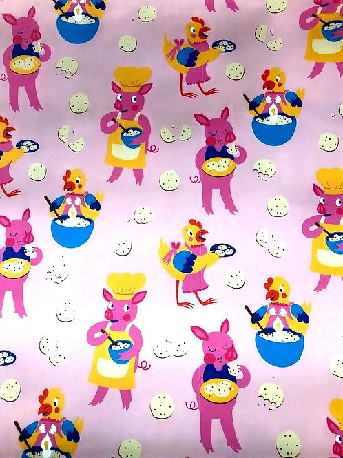 Heather Lund - Pigs And Chickens Wrapping Paper 3 Sheets