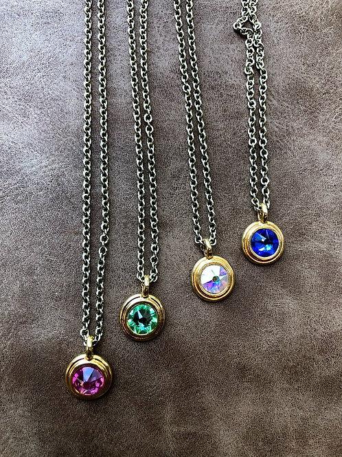 Rachel Eva - Golden Circle Crystal Necklace in Various Colors