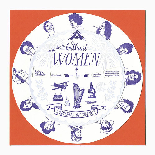 "Blackbird Letterpress - 12 Brilliant Women 7"" Spinner"