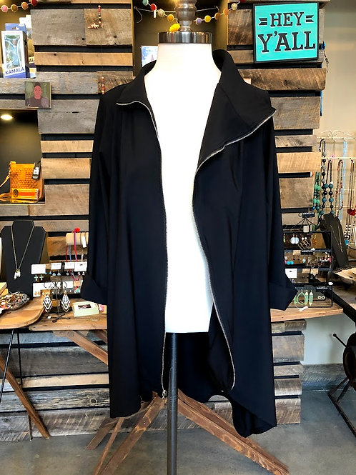 Jason by Comfy USA - Black Zip Jersey Jacket in Size Medium