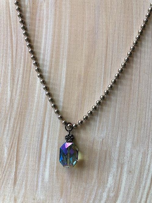 Rachel Eva - Blue Octagonal Crystal Beaded Chain Long Necklace