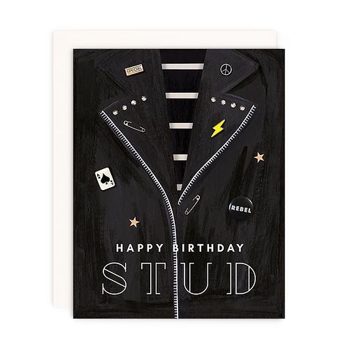 Girl with Knife - Happy Birthday Stud