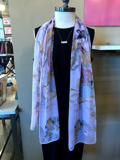 Accessories By LJ - Pink Silky Pattern Scarf