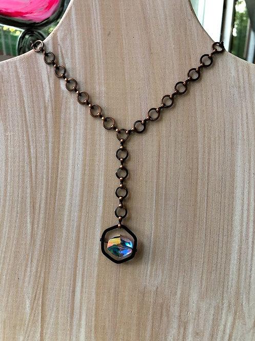 Rachel Eva - White Crystal Spinner Bronze Chain Necklace