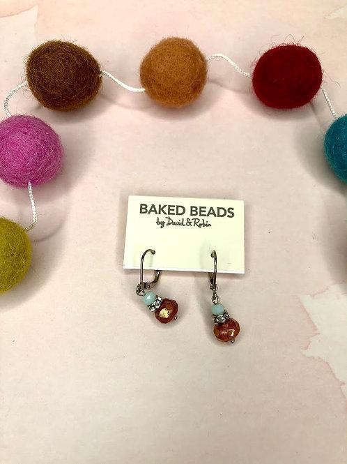 Baked Beads - Crystal Bead Rondelle Earrings in Orange