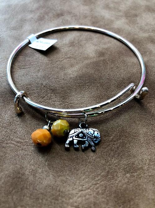 Rachel Eva - Gita Orange Elephant Silver Charm Bracelet