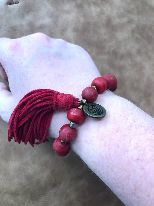 Mare Sole Amore - Red Bead Tassel Bracelet