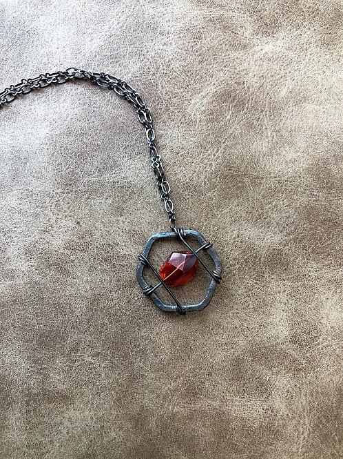 Rachel Eva - Red Orange Bead Necklace