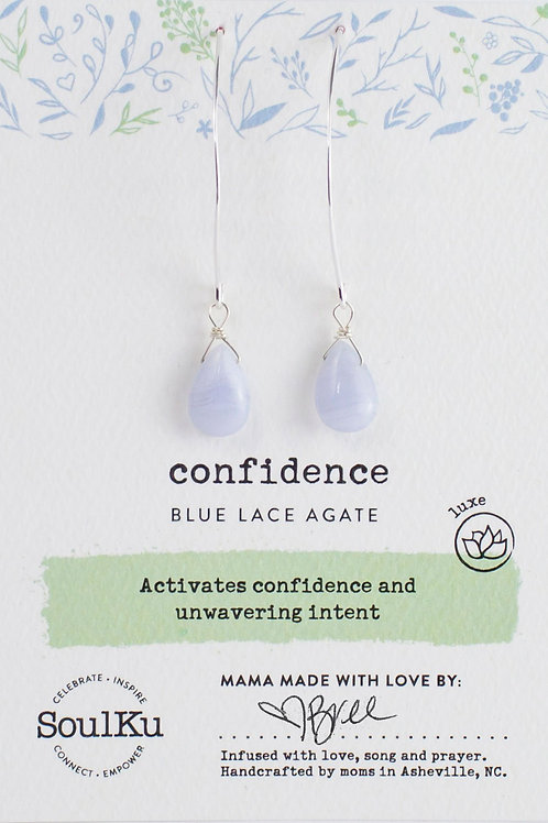 Soul Ku - Blue Lace Agate for Confidence Earrings