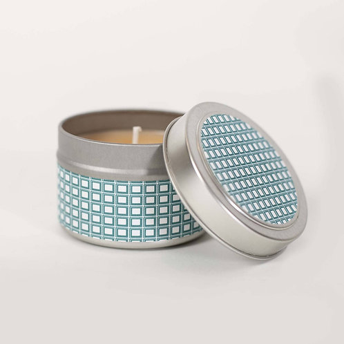 Mod Lounge Paper - Teal Squares 4oz. Beach Linen Candle