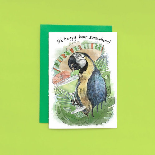Shop Aberleigh - Its Happy Hour Somewhere Party Parrot Greeting Card