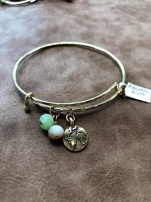 Rachel Eva - Earth Green Bead Gold Bangle Charm Bracelet