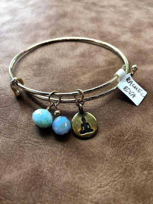 Rachel Eva - Gold Buddha Blue Bead Bangle Charm Bracelet