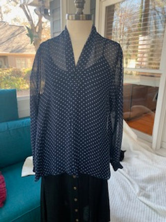 Dance In Paris - Navy Polkadot Blouse with Tank Top