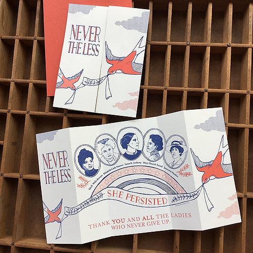 Blackbird Letterpress - Nevertheless She Persisted Fold Out Card