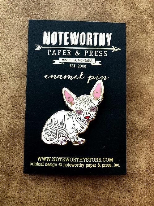 Noteworthy Paper - Hairless Cat Enamel Pin
