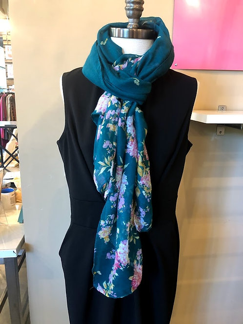Tickled Pink - Teal With Pink Flowers Scarf