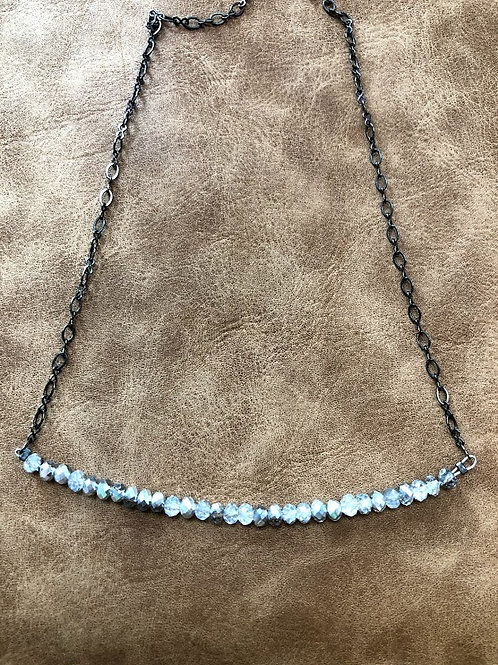 Rachel Eva - Silver Crystal Bar Necklace