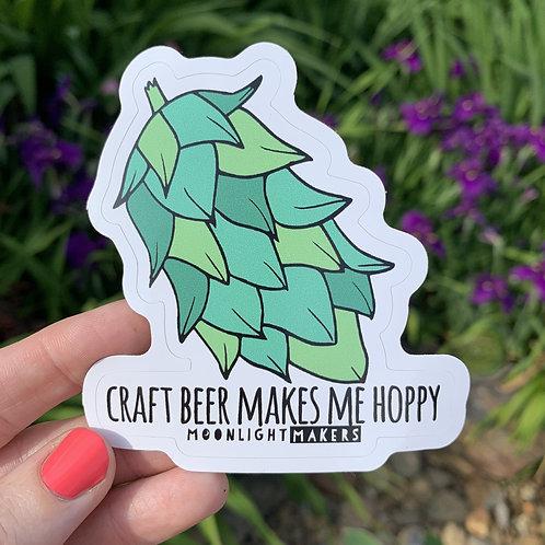 Moonlight Makers - Craft Beer Makes Me Hoppy Sticker