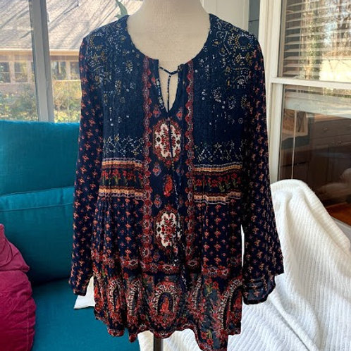 Love Kyla - Navy and Orange Print Blouse in Medium